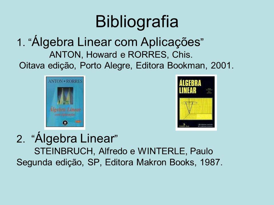 Bibliografia 1. Álgebra Linear com Aplicações ANTON, Howard e RORRES, Chis. Oitava edição, Porto Alegre, Editora Bookman, 2001. 2. Álgebra Linear STEI