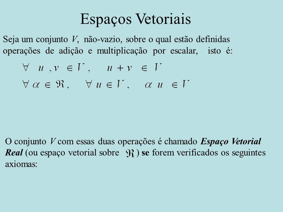 Espaços Vetoriais Seja um conjunto V, não-vazio, sobre o qual estão definidas operações de adição e multiplicação por escalar, isto é: O conjunto V co