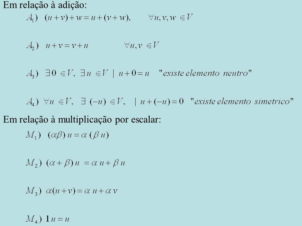 Em relação à adição: Em relação à multiplicação por escalar: