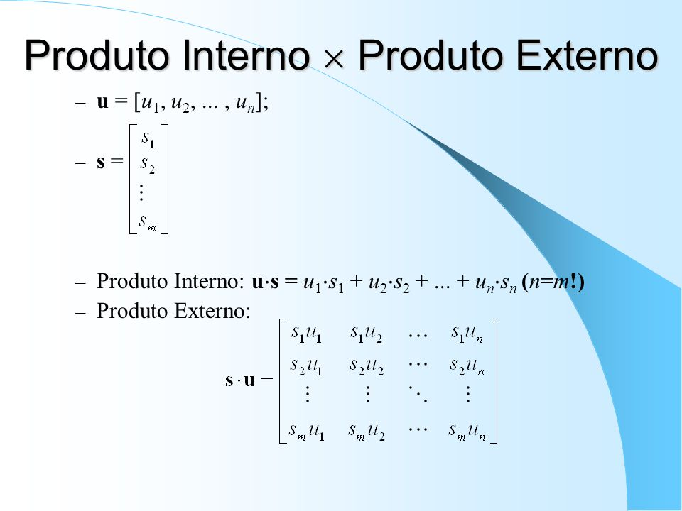 Produto Interno Produto Externo – u = [u 1, u 2,..., u n ]; – s = – Produto Interno: u s = u 1 s 1 + u 2 s 2 +... + u n s n (n=m!) – Produto Externo: