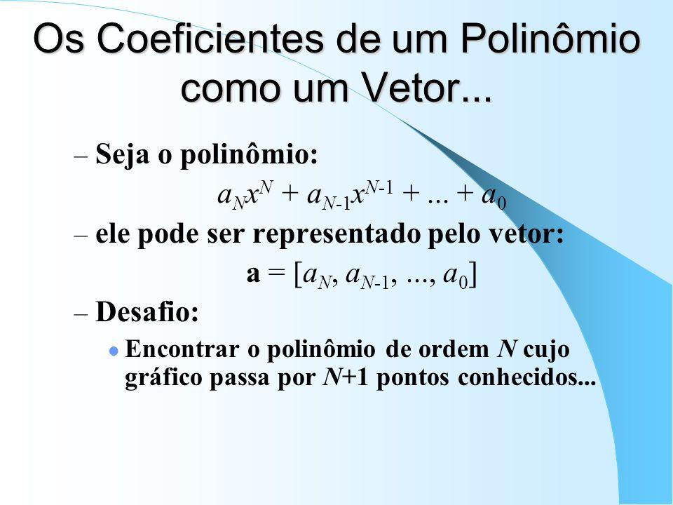 Os Coeficientes de um Polinômio como um Vetor... – Seja o polinômio: a N x N + a N-1 x N-1 +... + a 0 – ele pode ser representado pelo vetor: a = [a N