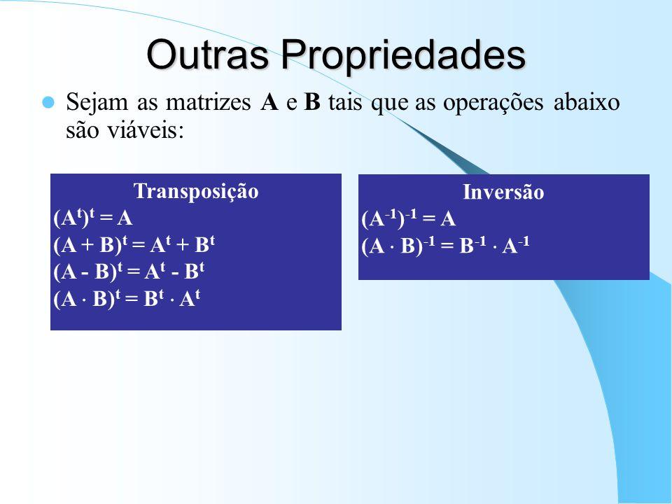 Outras Propriedades Sejam as matrizes A e B tais que as operações abaixo são viáveis: Transposição (A t ) t = A (A + B) t = A t + B t (A - B) t = A t