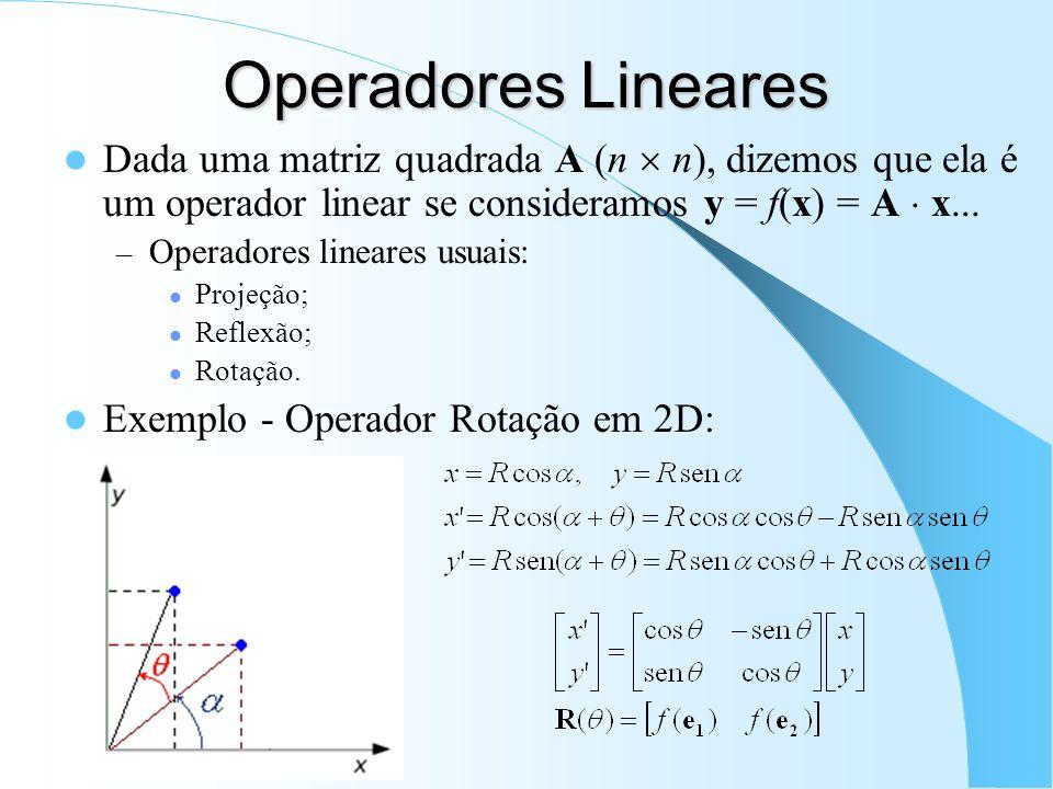 Operadores Lineares Dada uma matriz quadrada A (n n), dizemos que ela é um operador linear se consideramos y = f(x) = A x... – Operadores lineares usu