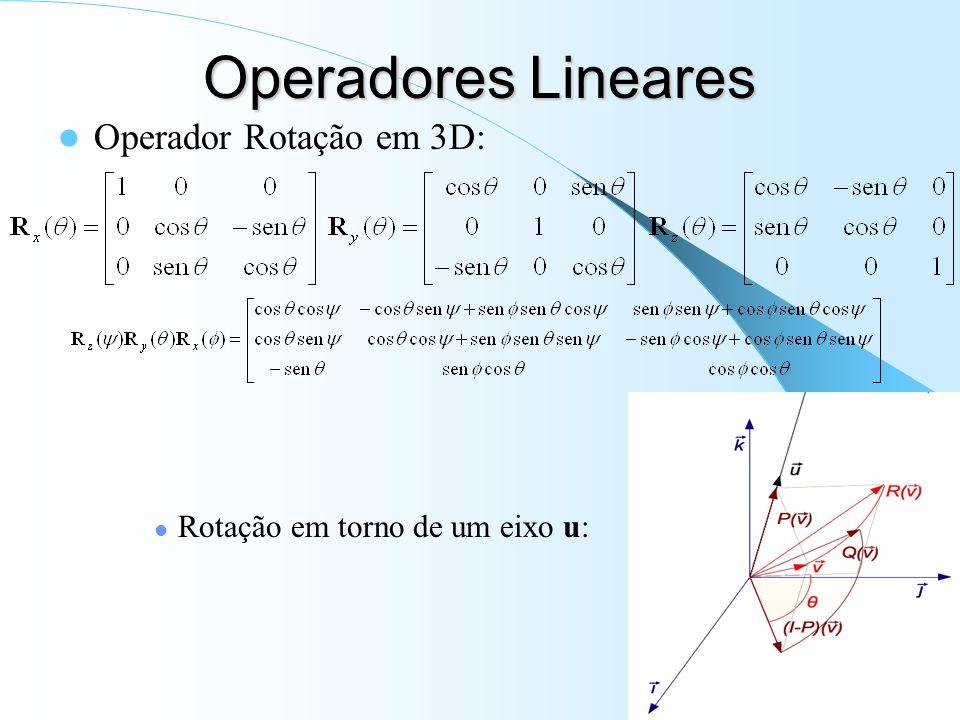 Operadores Lineares Operador Rotação em 3D: Rotação em torno de um eixo u: