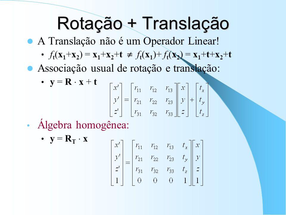 Rotação + Translação A Translação não é um Operador Linear! f t (x 1 +x 2 ) = x 1 +x 2 +t f t (x 1 )+ f t (x 2 ) = x 1 +t+x 2 +t Associação usual de r