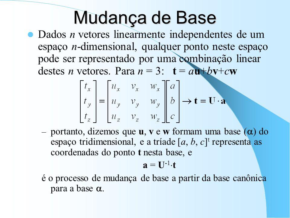 Mudança de Base Dados n vetores linearmente independentes de um espaço n-dimensional, qualquer ponto neste espaço pode ser representado por uma combin