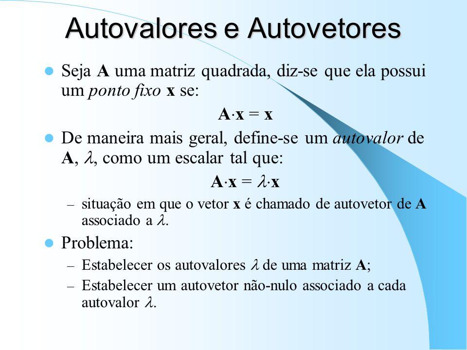 Autovalores e Autovetores Seja A uma matriz quadrada, diz-se que ela possui um ponto fixo x se: A x = x De maneira mais geral, define-se um autovalor