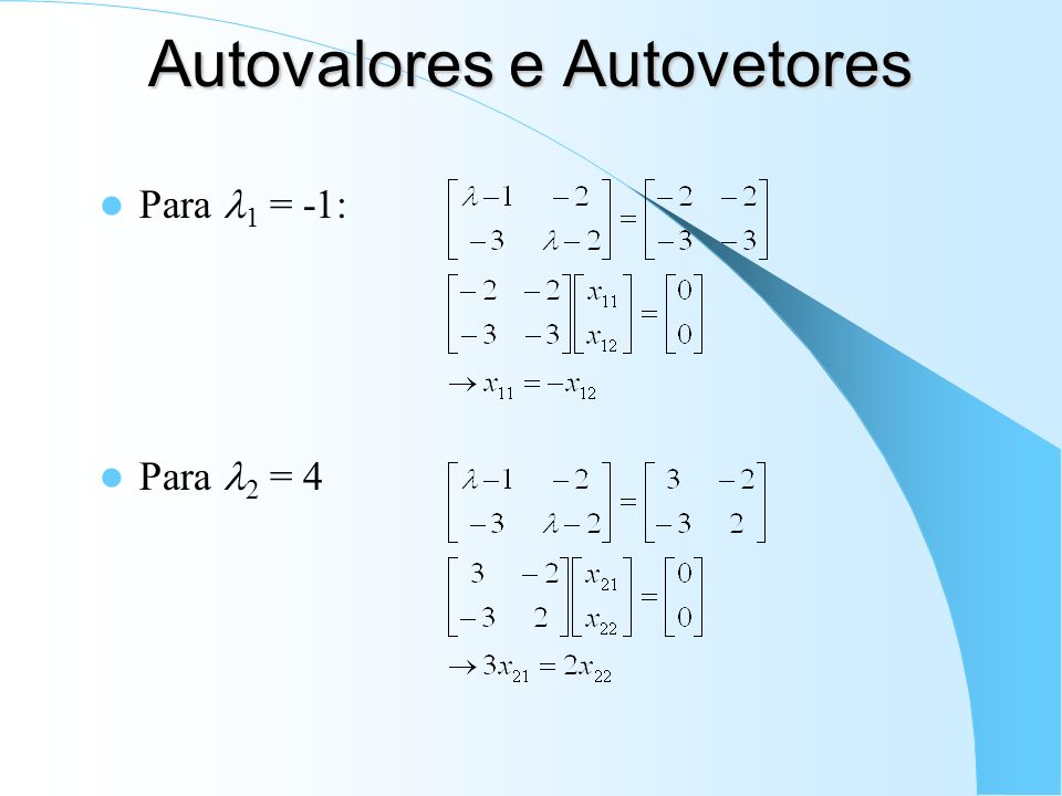 Autovalores e Autovetores Para 1 = -1: Para 2 = 4