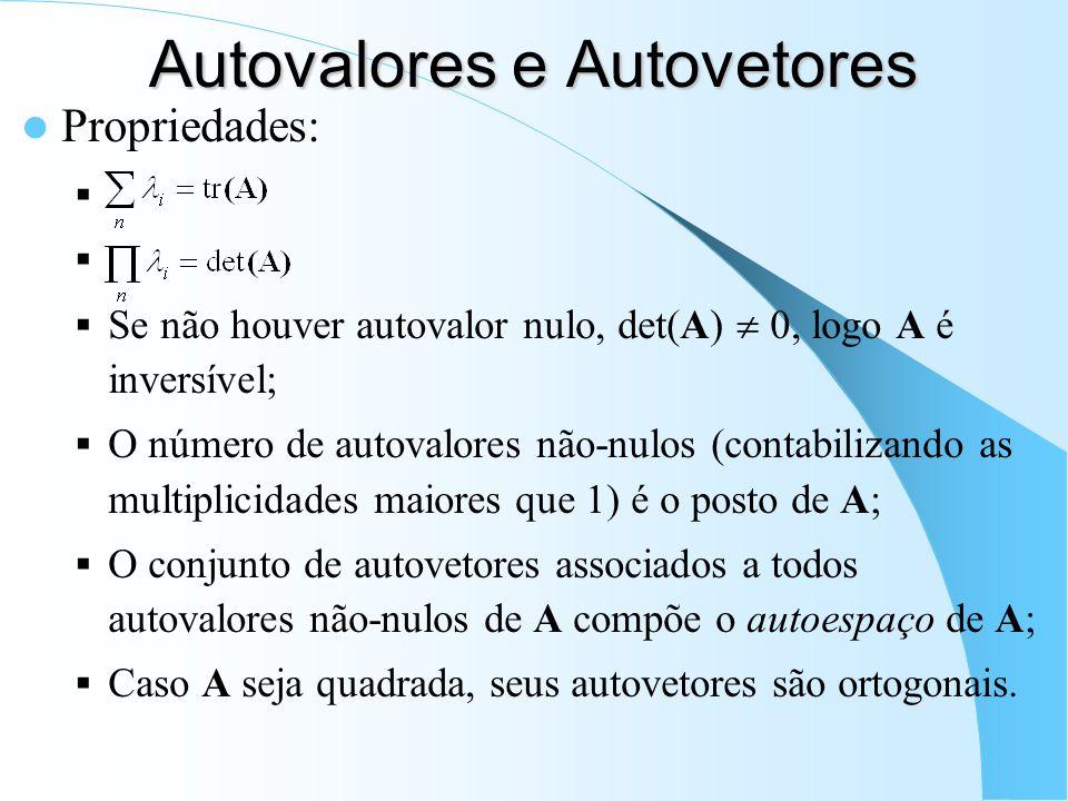 Autovalores e Autovetores Propriedades: Se não houver autovalor nulo, det(A) 0, logo A é inversível; O número de autovalores não-nulos (contabilizando
