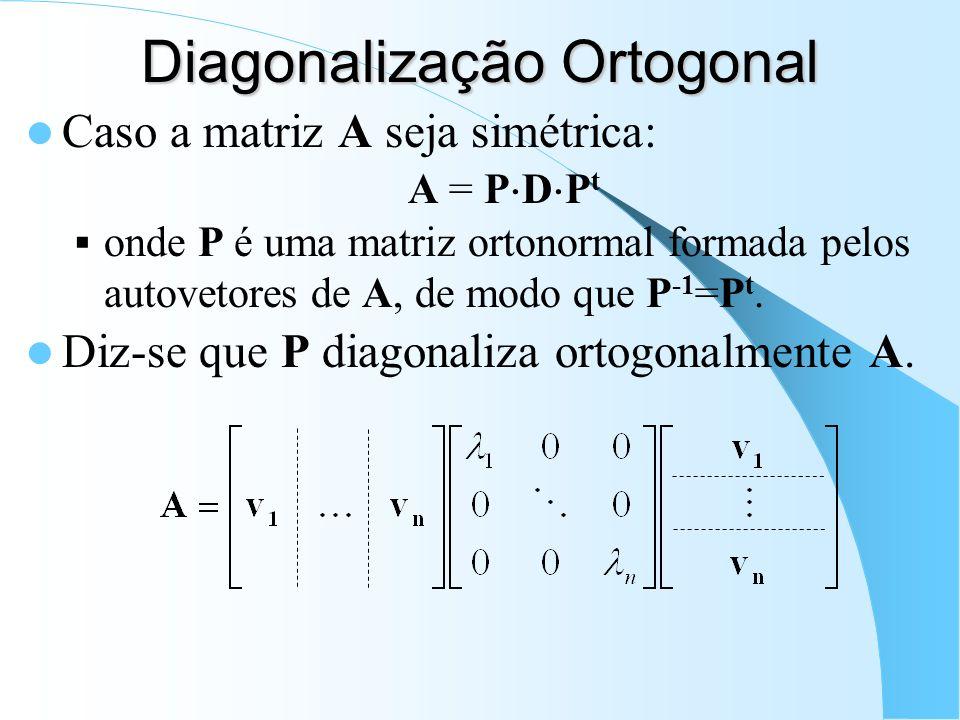 Diagonalização Ortogonal Caso a matriz A seja simétrica: A = P D P t onde P é uma matriz ortonormal formada pelos autovetores de A, de modo que P -1 =