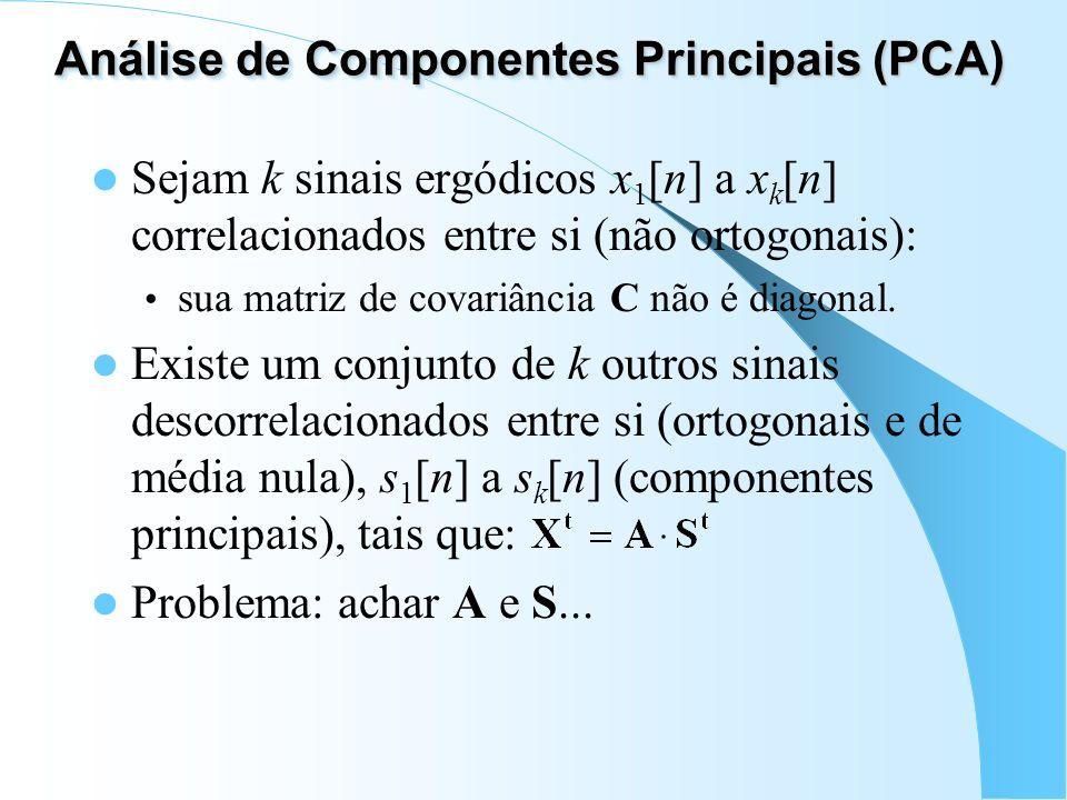 Análise de Componentes Principais (PCA) Sejam k sinais ergódicos x 1 [n] a x k [n] correlacionados entre si (não ortogonais): sua matriz de covariânci