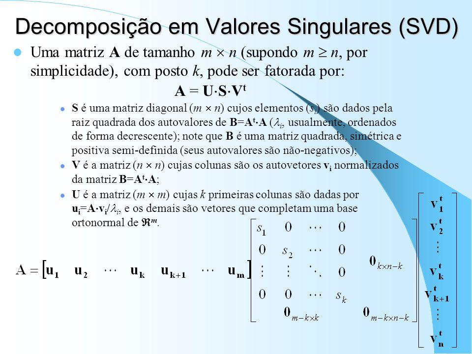 Decomposição em Valores Singulares (SVD) Uma matriz A de tamanho m n (supondo m n, por simplicidade), com posto k, pode ser fatorada por: A = U S V t