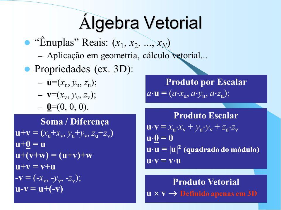Á lgebra Linear Vetores: – Agrupamento de valores quaisquer (reais ou complexas); Propriedades: – u=[u 1, u 2, u 3 ]; v=[v 1, v 2, v 3 ] s= (vetor-coluna) – w=[w 1, w 2, w 3 ]; – 0=(0, 0, 0) (vetores-linha).