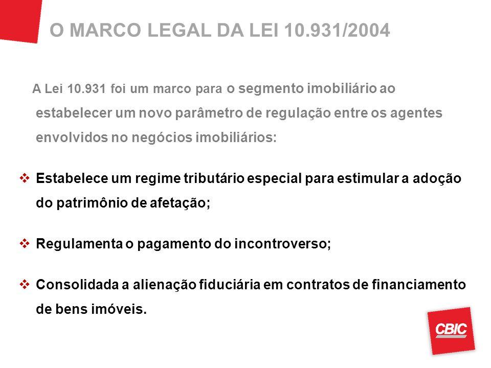 O MARCO LEGAL DA LEI 10.931/2004 A Lei 10.931 foi um marco para o segmento imobiliário ao estabelecer um novo parâmetro de regulação entre os agentes envolvidos no negócios imobiliários: Estabelece um regime tributário especial para estimular a adoção do patrimônio de afetação; Regulamenta o pagamento do incontroverso; Consolidada a alienação fiduciária em contratos de financiamento de bens imóveis.