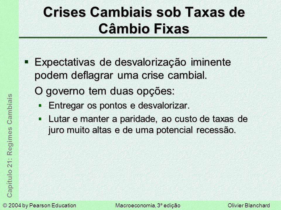 © 2004 by Pearson EducationMacroeconomia, 3ª ediçãoOlivier Blanchard Capítulo 21: Regimes Cambiais Crises Cambiais sob Taxas de Câmbio Fixas Expectativas de desvalorização iminente podem deflagrar uma crise cambial.