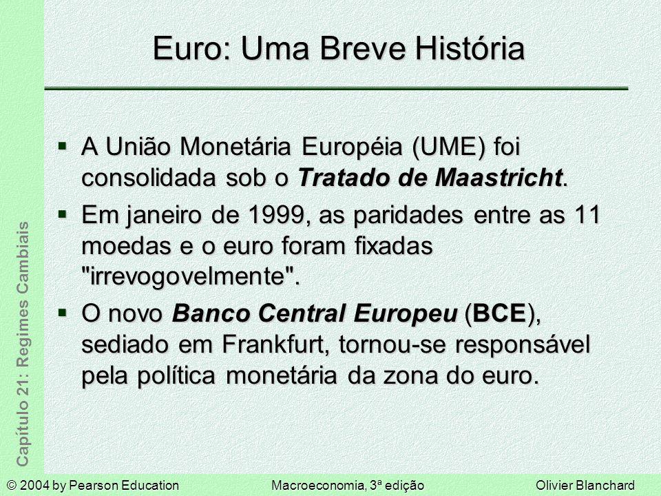© 2004 by Pearson EducationMacroeconomia, 3ª ediçãoOlivier Blanchard Capítulo 21: Regimes Cambiais Euro: Uma Breve História A União Monetária Européia (UME) foi consolidada sob o Tratado de Maastricht.