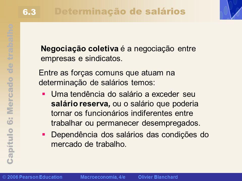Capítulo 6: Mercado de trabalho © 2006 Pearson Education Macroeconomia, 4/e Olivier Blanchard Determinação de salários Negociação coletiva é a negocia