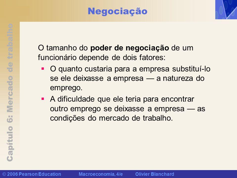 Capítulo 6: Mercado de trabalho © 2006 Pearson Education Macroeconomia, 4/e Olivier Blanchard Negociação O tamanho do poder de negociação de um funcio