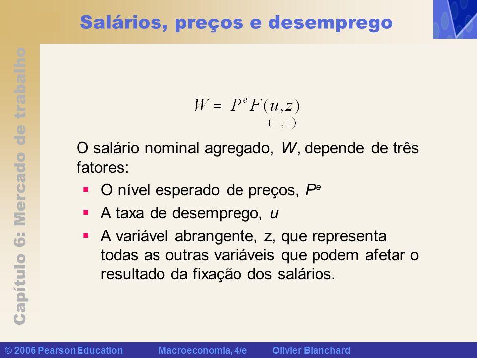 Capítulo 6: Mercado de trabalho © 2006 Pearson Education Macroeconomia, 4/e Olivier Blanchard Salários, preços e desemprego O salário nominal agregado