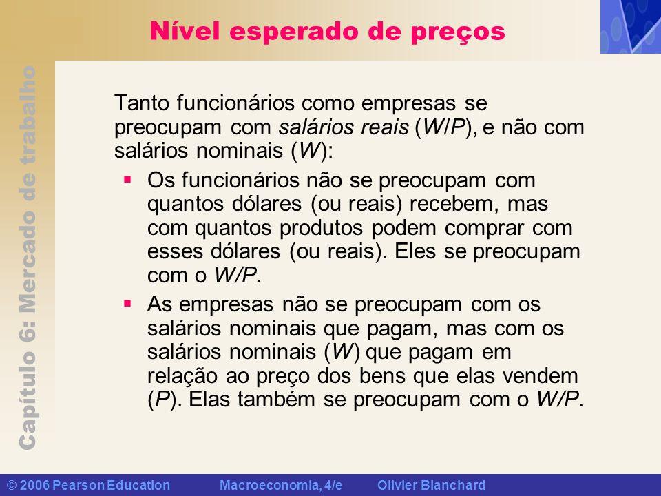 Capítulo 6: Mercado de trabalho © 2006 Pearson Education Macroeconomia, 4/e Olivier Blanchard Nível esperado de preços Tanto funcionários como empresa