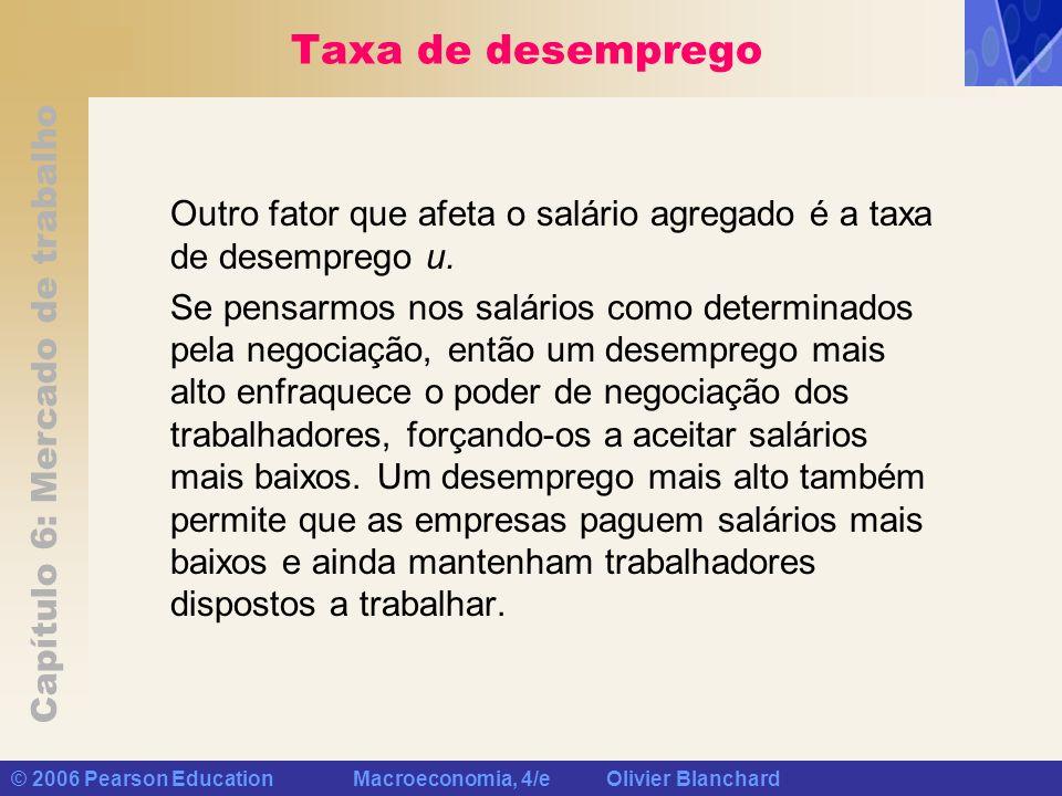 Capítulo 6: Mercado de trabalho © 2006 Pearson Education Macroeconomia, 4/e Olivier Blanchard Taxa de desemprego Outro fator que afeta o salário agreg