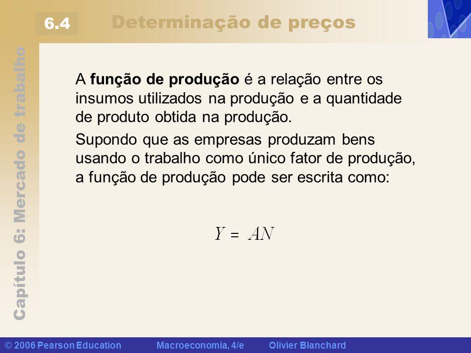 Capítulo 6: Mercado de trabalho © 2006 Pearson Education Macroeconomia, 4/e Olivier Blanchard Determinação de preços A função de produção é a relação
