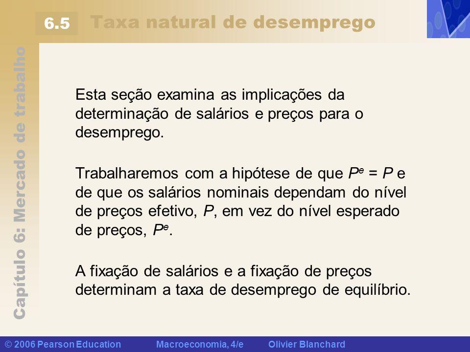 Capítulo 6: Mercado de trabalho © 2006 Pearson Education Macroeconomia, 4/e Olivier Blanchard Taxa natural de desemprego Esta seção examina as implica