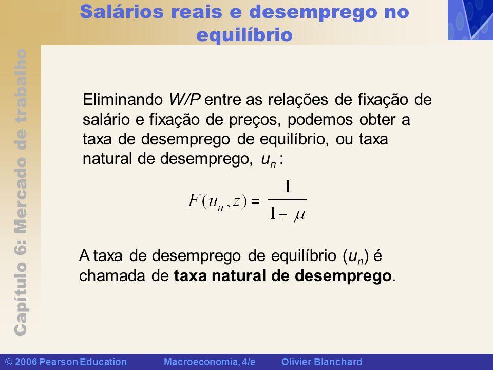 Capítulo 6: Mercado de trabalho © 2006 Pearson Education Macroeconomia, 4/e Olivier Blanchard Salários reais e desemprego no equilíbrio Eliminando W/P