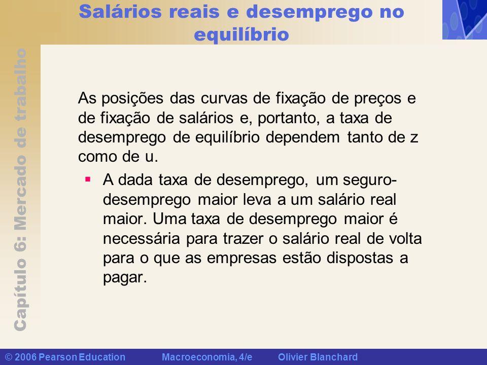 Capítulo 6: Mercado de trabalho © 2006 Pearson Education Macroeconomia, 4/e Olivier Blanchard Salários reais e desemprego no equilíbrio As posições da