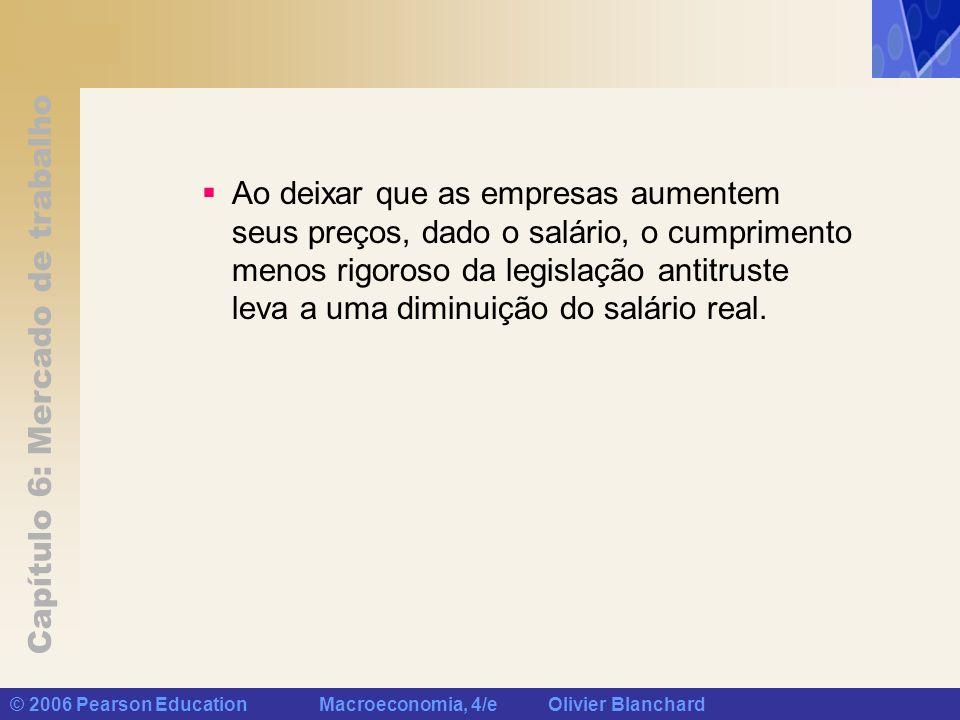 Capítulo 6: Mercado de trabalho © 2006 Pearson Education Macroeconomia, 4/e Olivier Blanchard Ao deixar que as empresas aumentem seus preços, dado o s