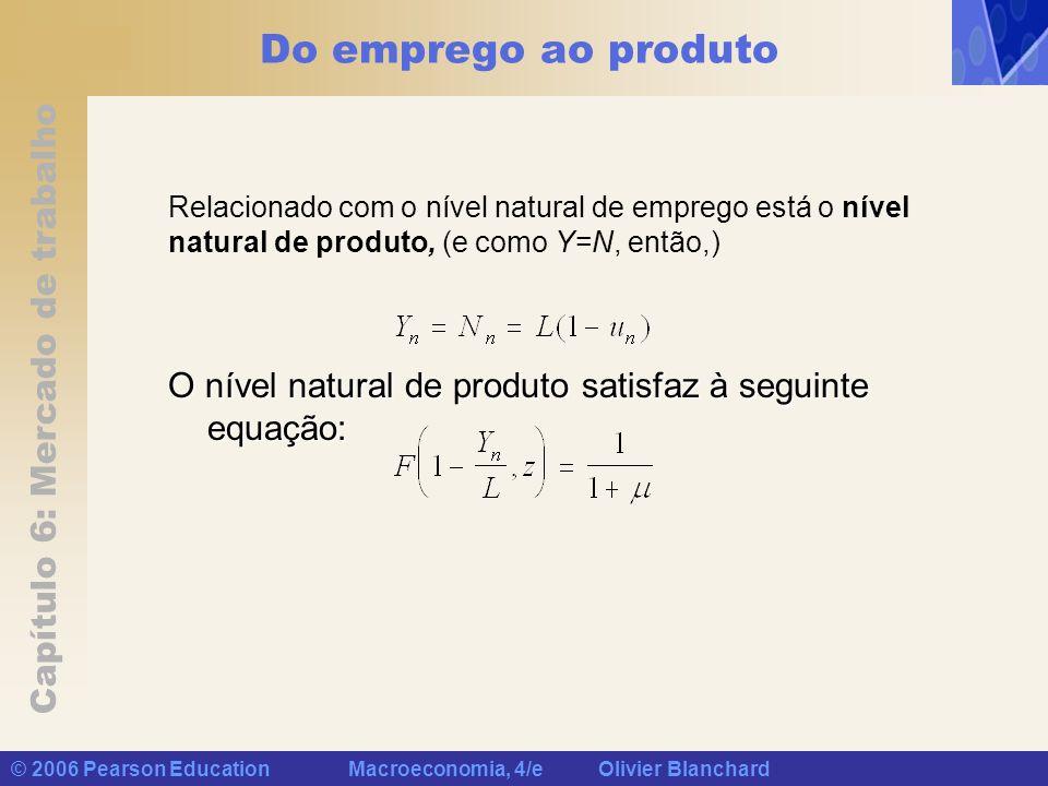 Capítulo 6: Mercado de trabalho © 2006 Pearson Education Macroeconomia, 4/e Olivier Blanchard Do emprego ao produto Relacionado com o nível natural de