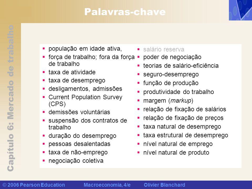 Capítulo 6: Mercado de trabalho © 2006 Pearson Education Macroeconomia, 4/e Olivier Blanchard Palavras-chave população em idade ativa, força de trabal