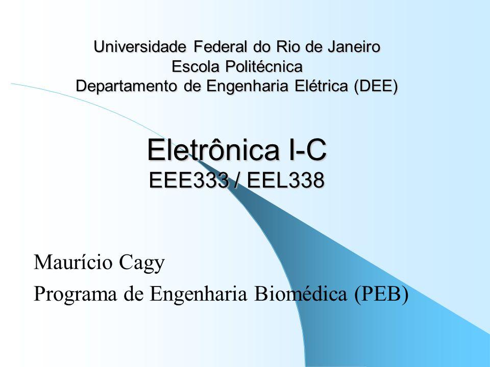 Universidade Federal do Rio de Janeiro Escola Politécnica Departamento de Engenharia Elétrica (DEE) Eletrônica I-C EEE333 / EEL338 Maurício Cagy Progr