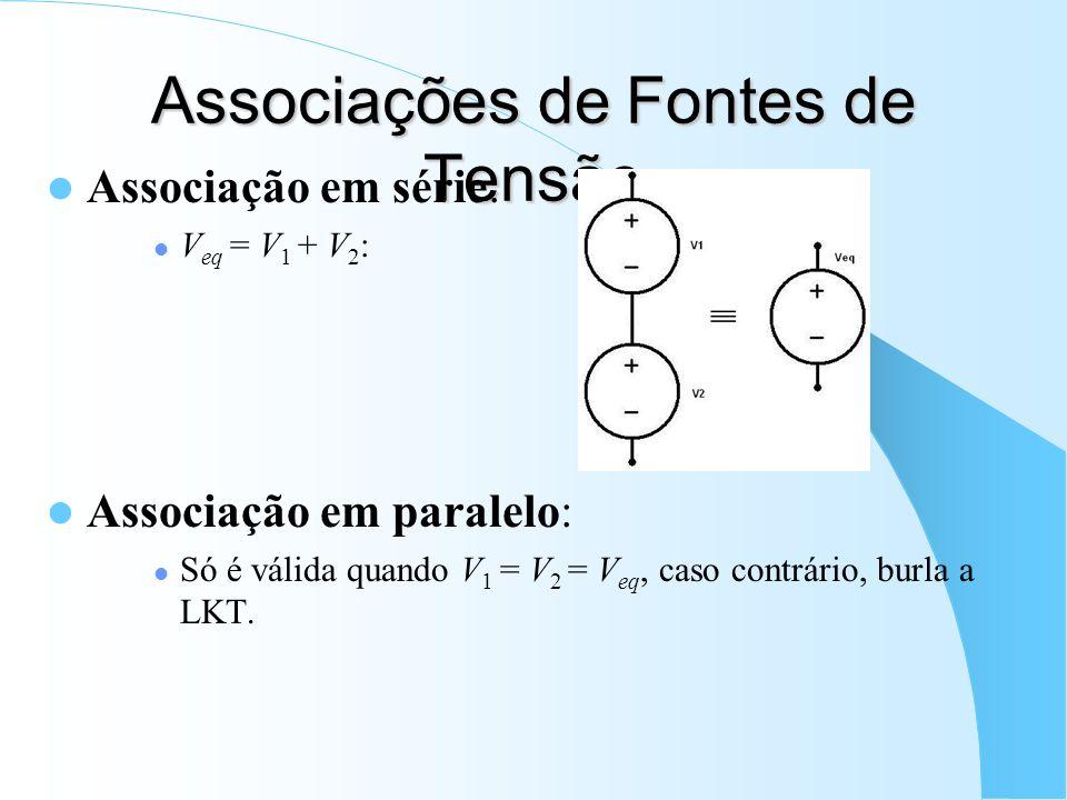 Associações de Fontes de Tensão Associação em série: V eq = V 1 + V 2 : Associação em paralelo: Só é válida quando V 1 = V 2 = V eq, caso contrário, b