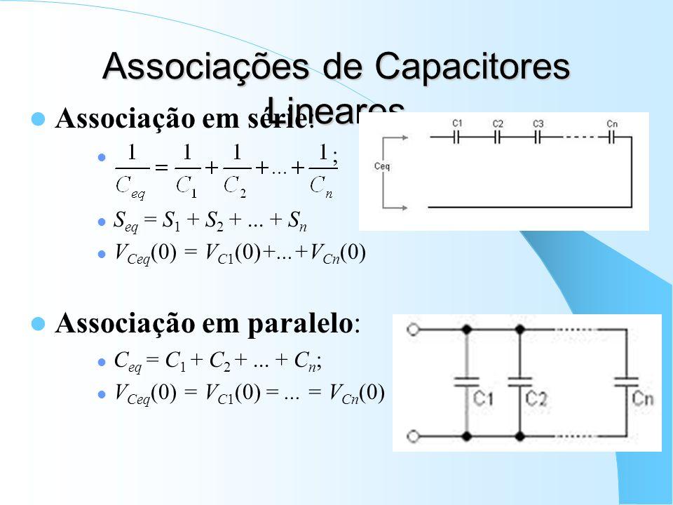 Associações de Capacitores Lineares Associação em série: ; S eq = S 1 + S 2 +... + S n V Ceq (0) = V C1 (0)+...+V Cn (0) Associação em paralelo: C eq