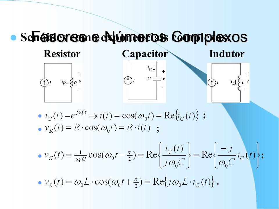 Fasores e Números Complexos Senóides como exponenciais complexas: Resistor Capacitor Indutor ;.
