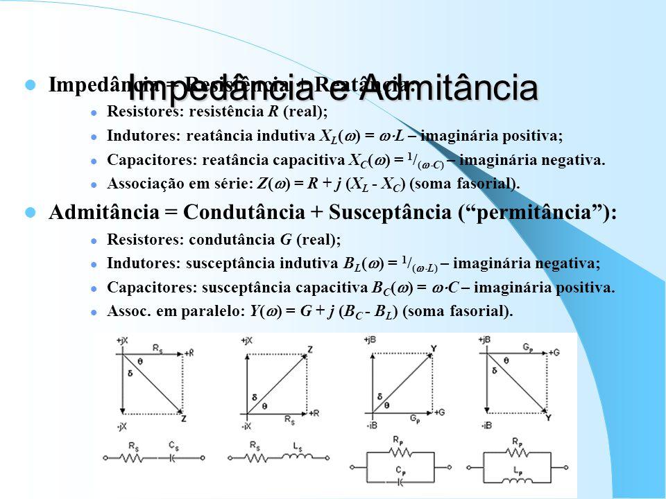 Impedância e Admitância Impedância = Resistência + Reatância: Resistores: resistência R (real); Indutores: reatância indutiva X L ( ) = L – imaginária
