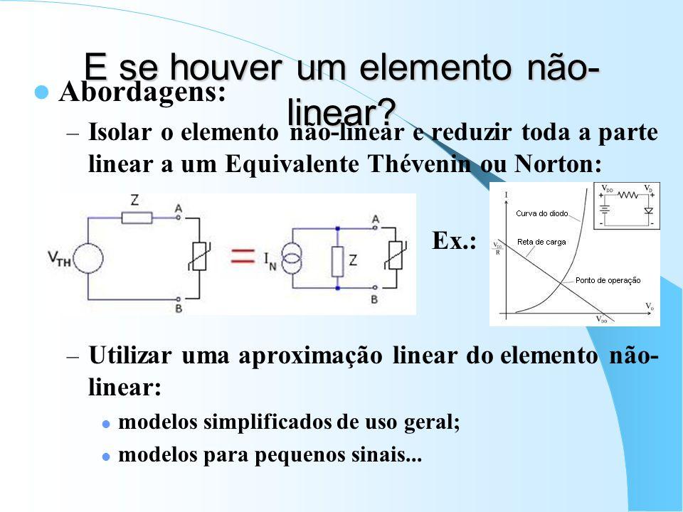 E se houver um elemento não- linear? Abordagens: – Isolar o elemento não-linear e reduzir toda a parte linear a um Equivalente Thévenin ou Norton: Ex.