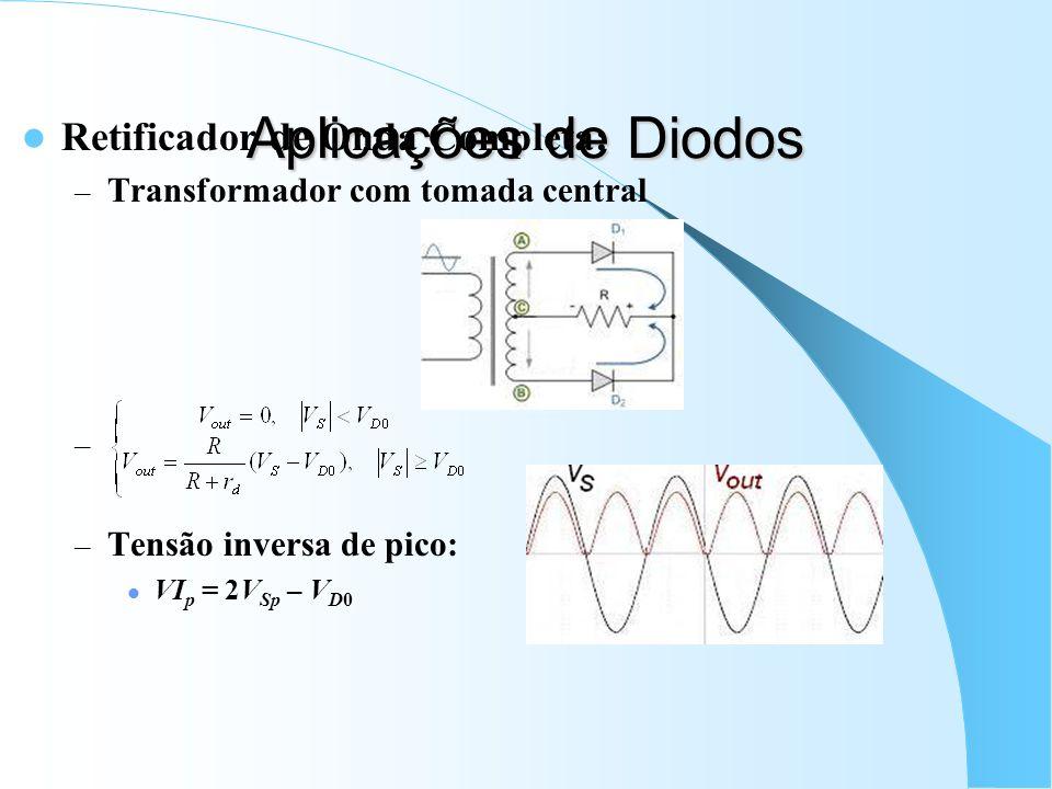 Aplicações de Diodos Retificador de Onda Completa: – Transformador com tomada central – – Tensão inversa de pico: VI p = 2V Sp – V D0