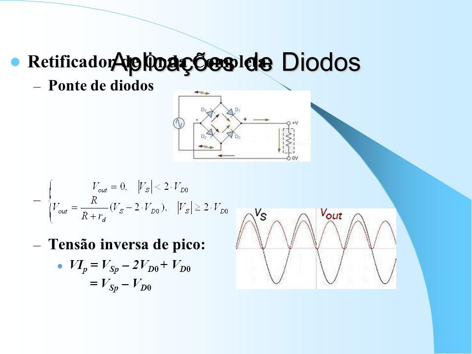 Aplicações de Diodos Retificador de Onda Completa: – Ponte de diodos – – Tensão inversa de pico: VI p = V Sp – 2V D0 + V D0 = V Sp – V D0