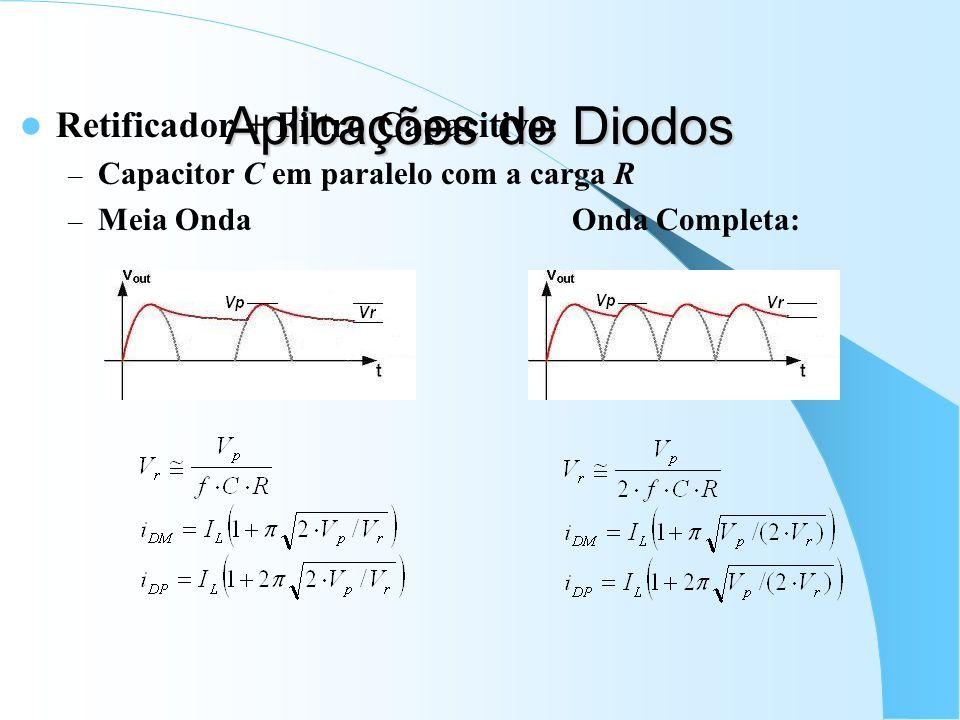 Aplicações de Diodos Retificador + Filtro Capacitivo: – Capacitor C em paralelo com a carga R – Meia Onda Onda Completa: