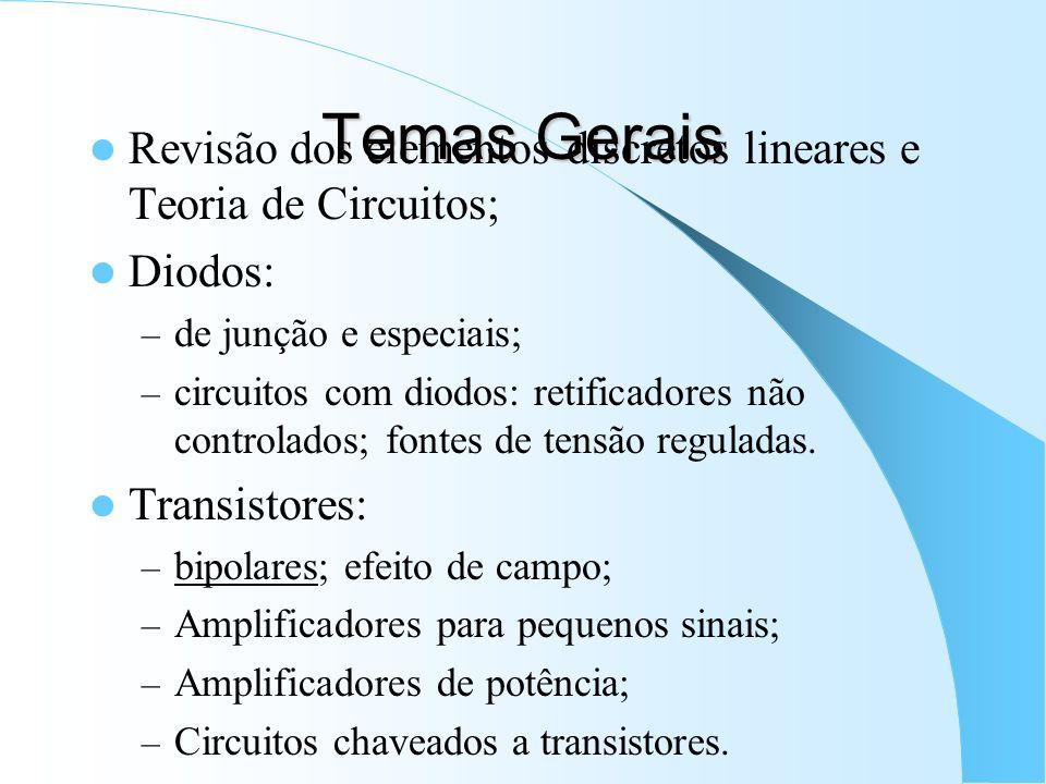 Temas Gerais Revisão dos elementos discretos lineares e Teoria de Circuitos; Diodos: – de junção e especiais; – circuitos com diodos: retificadores nã