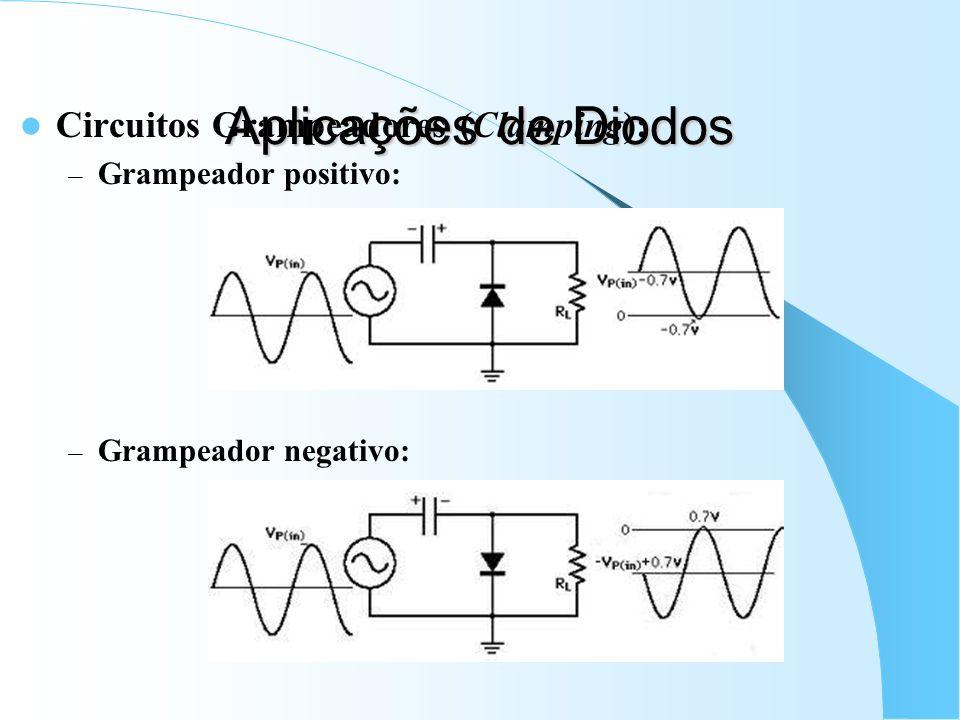 Aplicações de Diodos Circuitos Grampeadores (Clamping): – Grampeador positivo: – Grampeador negativo: