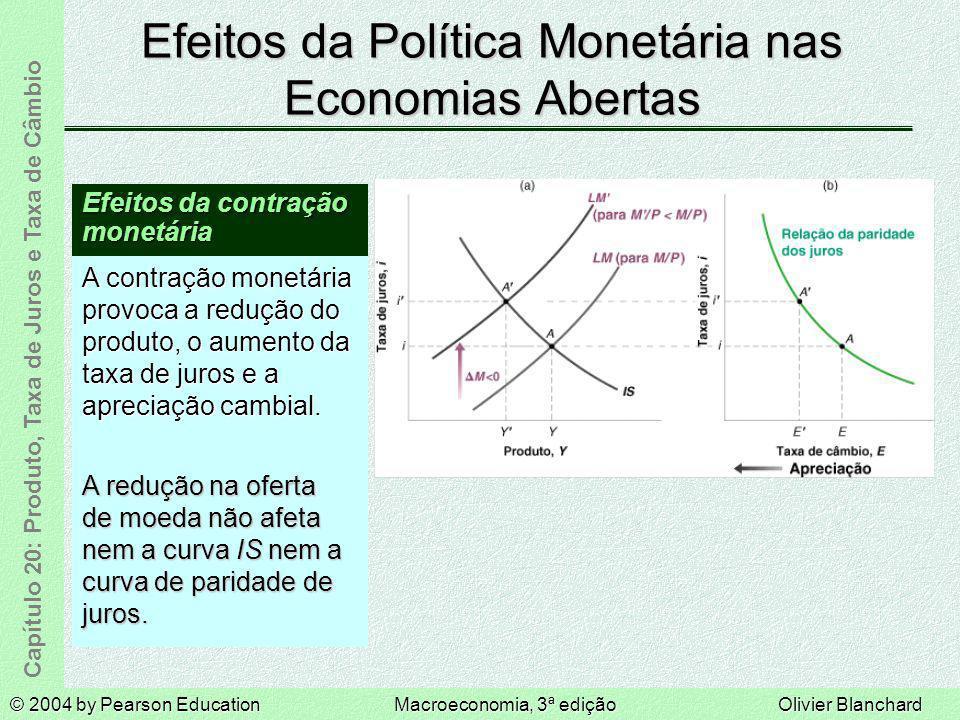 © 2004 by Pearson EducationMacroeconomia, 3ª ediçãoOlivier Blanchard Capítulo 20: Produto, Taxa de Juros e Taxa de Câmbio Efeitos da Política Monetári