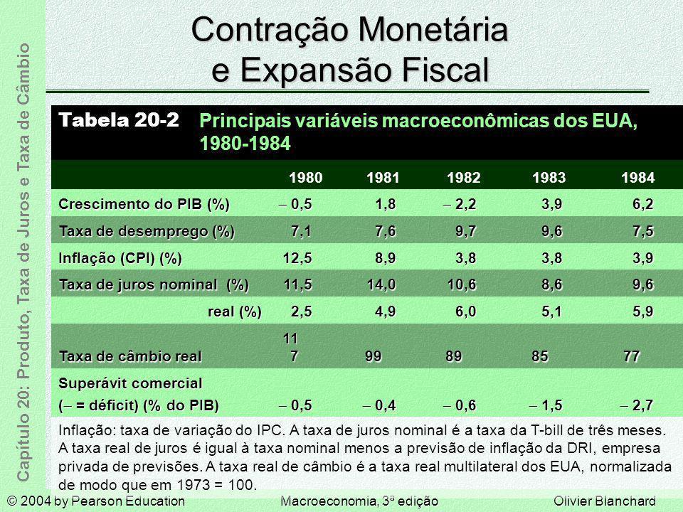 © 2004 by Pearson EducationMacroeconomia, 3ª ediçãoOlivier Blanchard Capítulo 20: Produto, Taxa de Juros e Taxa de Câmbio Contração Monetária e Expans