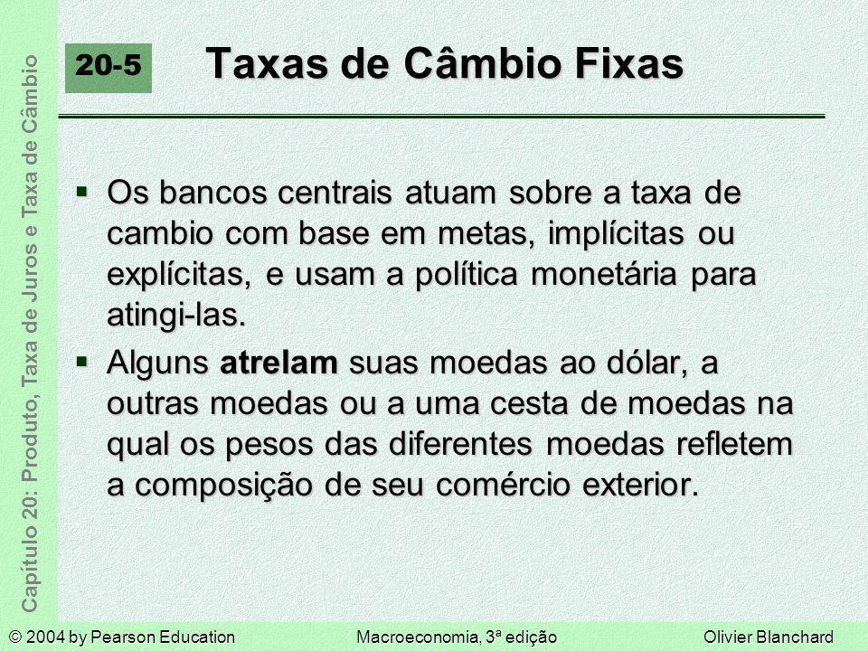 © 2004 by Pearson EducationMacroeconomia, 3ª ediçãoOlivier Blanchard Capítulo 20: Produto, Taxa de Juros e Taxa de Câmbio Taxas de Câmbio Fixas 20-5 O