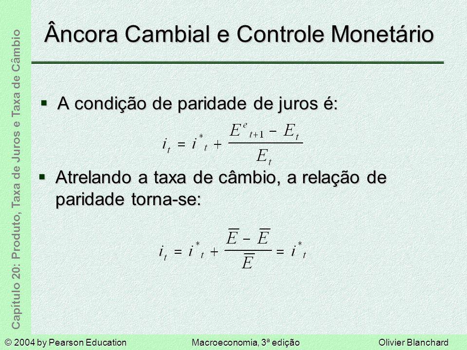 © 2004 by Pearson EducationMacroeconomia, 3ª ediçãoOlivier Blanchard Capítulo 20: Produto, Taxa de Juros e Taxa de Câmbio Âncora Cambial e Controle Mo