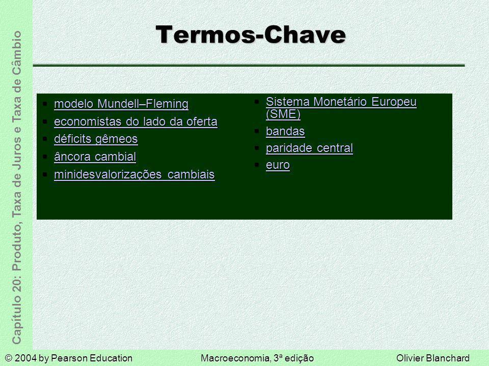 © 2004 by Pearson EducationMacroeconomia, 3ª ediçãoOlivier Blanchard Capítulo 20: Produto, Taxa de Juros e Taxa de Câmbio Termos-Chave modelo Mundell–
