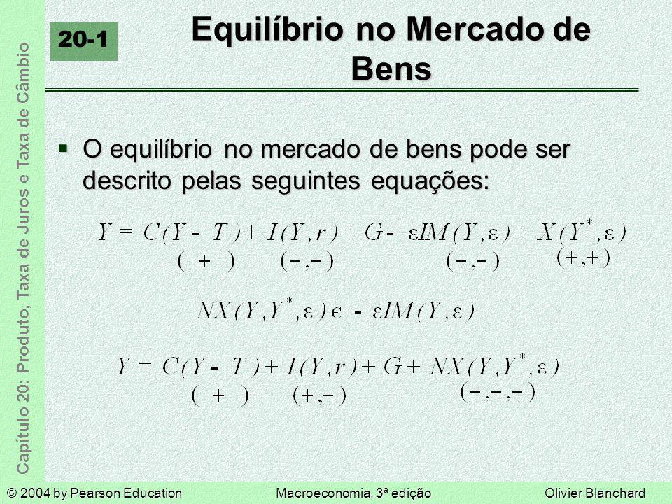 © 2004 by Pearson EducationMacroeconomia, 3ª ediçãoOlivier Blanchard Capítulo 20: Produto, Taxa de Juros e Taxa de Câmbio Equilíbrio no Mercado de Ben