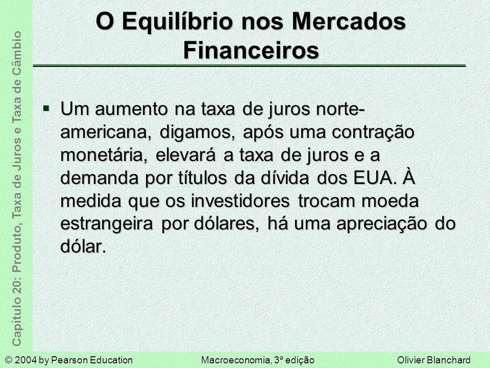 © 2004 by Pearson EducationMacroeconomia, 3ª ediçãoOlivier Blanchard Capítulo 20: Produto, Taxa de Juros e Taxa de Câmbio O Equilíbrio nos Mercados Financeiros Quanto mais o dólar se aprecia hoje, mais os investidores esperam que se desvalorize no futuro.